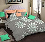Portico New York Nishka Lulla Cotton Bedsheet with 2 Pillow Covers - King Size, Aqua Green
