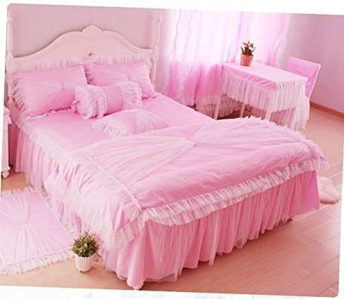 MeMoreCool Home Textile Romantic Pink Design Pastoral Style Floral Lace Princess Bedding Set Girly Ruffle Duvet Cover Set Fashion Exquisite Falbala Bed Skirt Twin Size 3Pcs woven textile design