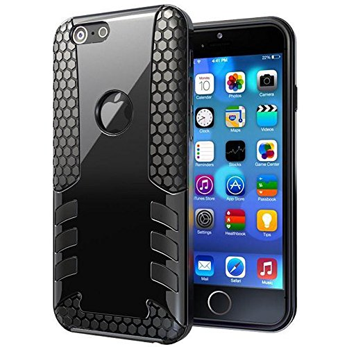 "Tech Express (Tm) Rocket Armor Rubber Hybrid Impact 2 Layer Box Inner Silicone Core + Titan Style Design Anti-Slip Shell Snap On Cover Case For Apple Iphone 6+ / 6 Plus 5.5"" (Black)"