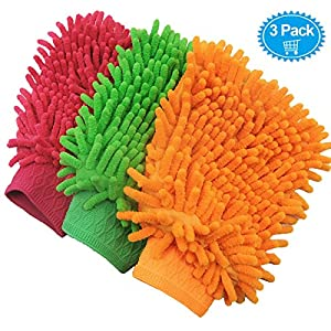 Car Wash Mitts Waxing Polish Wax Foam Sponge - Automobile Detailing Gloves - Premium Chenille Microfiber Duster Cleaning Cloth Kit,Car Care