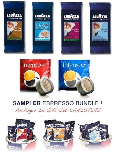 Lavazza Espresso Point Capsule Variety Sampler Bundle - Lavazza Crema & Aroma , Lavazza Decaf, Lavazza Aroma Point, Lavazza Aroma Club - 100 TOTAL capsules + BONUS 5 FREE Intenso Espresso CAPSULES