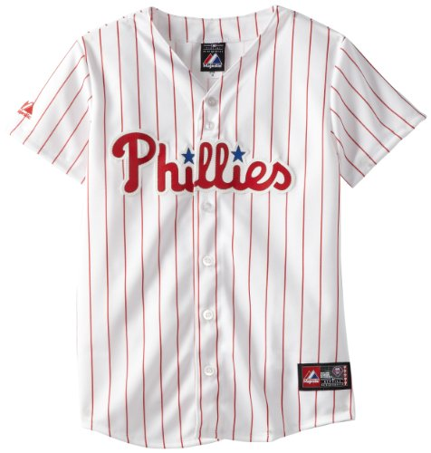 MLB Womens Philadelphia Phillies Home Replica Baseball Jersey (White/Scarlet Pinstripe, Small) at Amazon.com