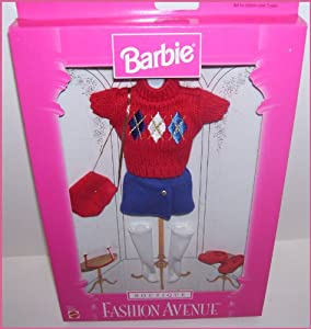 1997 Fashion Avenue Barbie Doll Red Sweater & Skirt