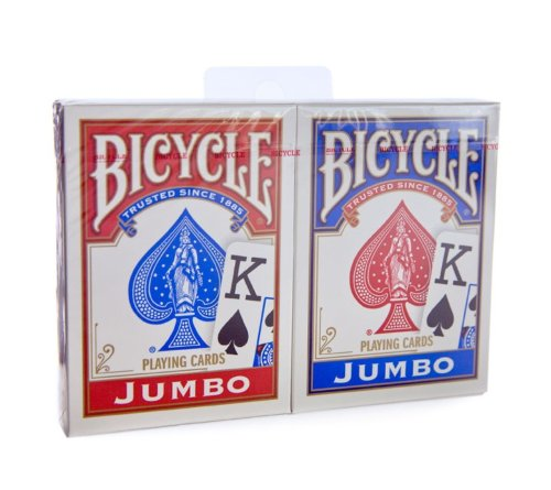 Bicycle Rider Back - Red & Blue Jumbo Index Playing Cards