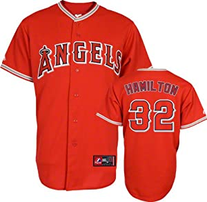MLB Josh Hamilton Los Angeles Angels of Anaheim #32 Majestic Replica Jersey - Red by Majestic