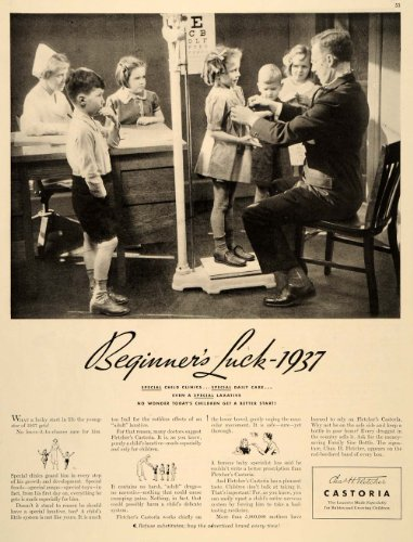 1937 Ad Fletcher's Castoria Castor Oil Children Laxative Drug Remedy Doctor – Original Print Ad