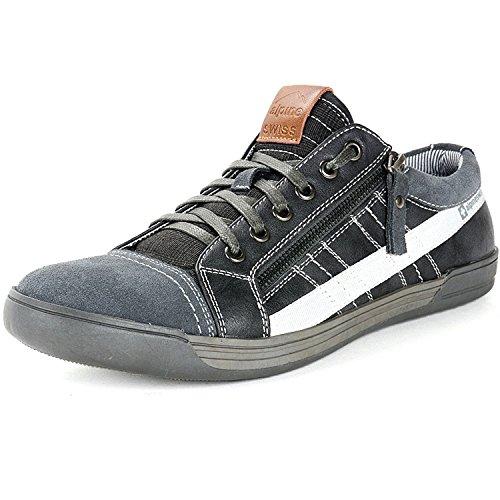 Alpine Swiss Mens Valon Gray Suede Trim Low Top Fashion Sneakers 10 M US Alpine Stripe