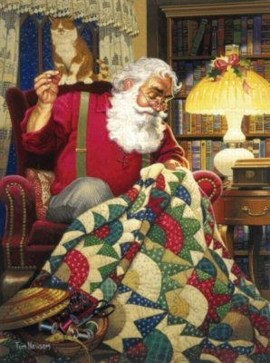 Cheap SunsOut Ted Newsome Quilting Santa 1000pc Jigsaw Puzzle (B001YJYPHA)