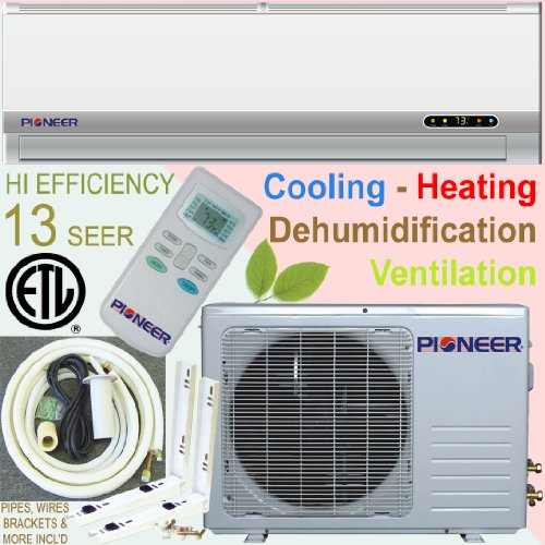 Pioneer Ductless Mini Split Air Conditioner, Heat Pump, 12000 BTU (1 Ton), 13 SEER, Cooling, Heating, Dehumidification, Ventilation. Including 16 Foot Installation Kit.. 110~120 VAC.
