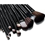 Glow Black 12 Pc Professional Makeup Brushes Set with Crocodile Leather Design Case