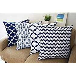 "Blue and White Howarmer® Square Cotton Canvas Decorative Throw Pillows Cover Set of 4 Accent Pattern - Navy Blue Quatrefoil, Navy Blue Arrow, Chevron Cover Set 18""x 18"""
