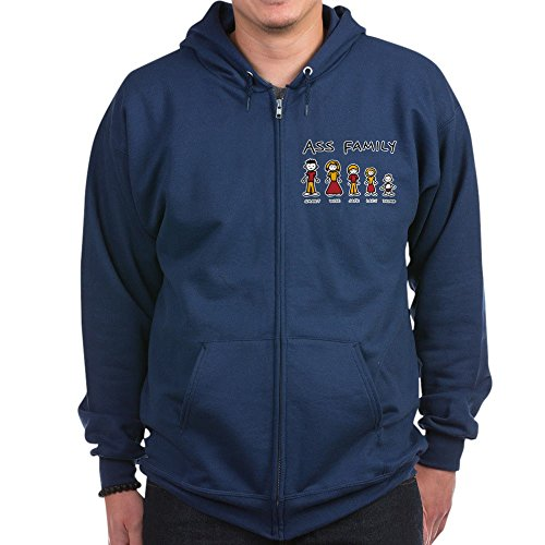 Royal Lion Zip Hoodie (Dark) Ass Family Smart Wise Jack Lazy Dumb - Navy, Small (Wise Ass)