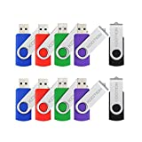 KOOTION 10pcs 8GB USB Flash Drive 10pcs Flash Drive In Pack USB 2.0(5 Colors Mixed : Black Blue Green Purple Red)