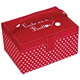 Button It | Make do & Mend | medium red polka dot sewing box with white polka dot lining