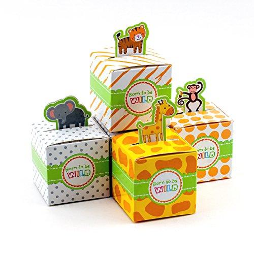 Adorox Small 24 Pcs Born To Be Wild Adorable Jungle Safari Zoo Theme Baby Shower Favor Candy Treat Box Cute Birthday Decoration (Safari Baby Shower Favors compare prices)