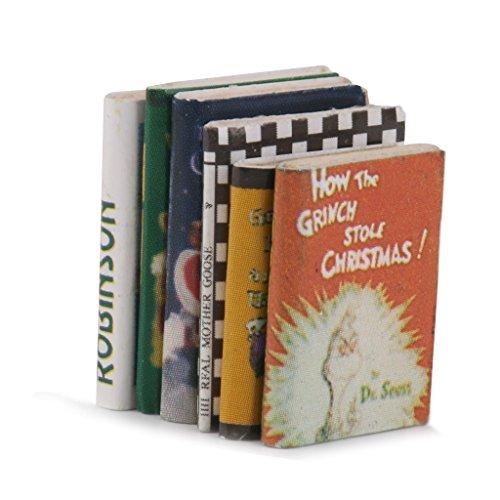 Lot de 6pcs Livres en Bois Miniature pour 1/12 Maison de Poupée Coloré