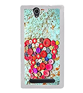 Colourful Buttons Heart 2D Hard Polycarbonate Designer Back Case Cover for Sony Xperia C3 Dual :: Sony Xperia C3 Dual D2502