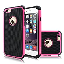 buy Iphone 6S Case, Milocos [Tmajor Series] Shock Absorbing Hybrid Best Impact Defender Rugged Slim Cover Shell W/ Plastic Outer & Rubber Silicone Inner For Iphone 6 And 6S (4.7 Inch)[Hot Pink/Black]