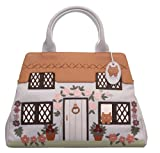 CICCIA COUNTRY COTTAGE BLUE LEATHER GRAB BAG OR SHOULDER BAG - EMBELLISHED WITH SWAROVSKI ELEMENTS