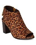 Breckelles BE38 Women Suede Peep Toe Slingback Velcro Chunk Heel Sandal Bootie – Leopard (Size: 9.0) Reviews