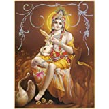 "Dolls Of India ""Animal Lover Krishna - (Poster With Glitter)"" Reprint On Paper - Unframed (45.72 X 35.56 Centimeters..."