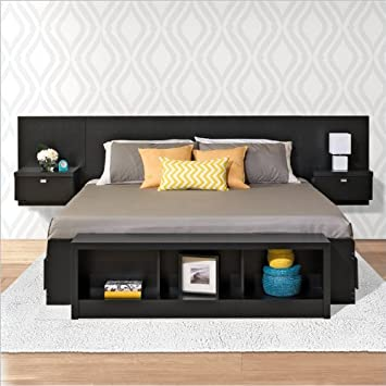 Prepac Series 9 Designer 2-Piece Bedroom Set in Black - Queen