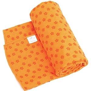 【メッシュバック付き】ヨガタオル・ヨガラグ 吸水・速乾性抜群!滑り止め付き!全7色♪ (オレンジ)