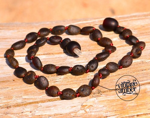 """Amber Teething Necklace For Baby - Maximum Pain Relief - From """"Vintage Amber"""" Tm"""