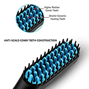 Beard Straightener Brush for Men, MQ Hair Beard Straightening Comb Multifunctional Anti-Scald Faster Heated Electric Ionic Ceramic Auto Temperature Lock Universal Portable New Year Gifts for Men