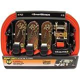 SmartStraps 149 Orange 10' 3,000 lbs Capacity Padded Ratchet Tie Down, (Pack of 4)