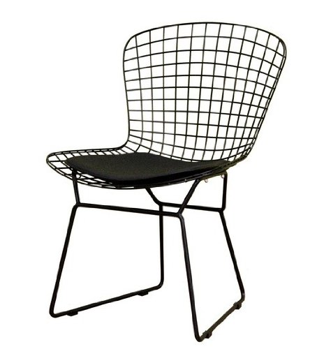 side chair with velcro strips – contemporary black finish