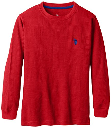 U.S. Polo Assn. Big Boys' Long Sleeve Thermal Crew Neck Pullover, Engine Red, 18