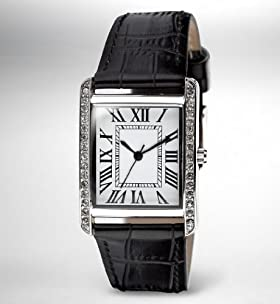 Rectangular Face Diamanté Analogue Strap Watch