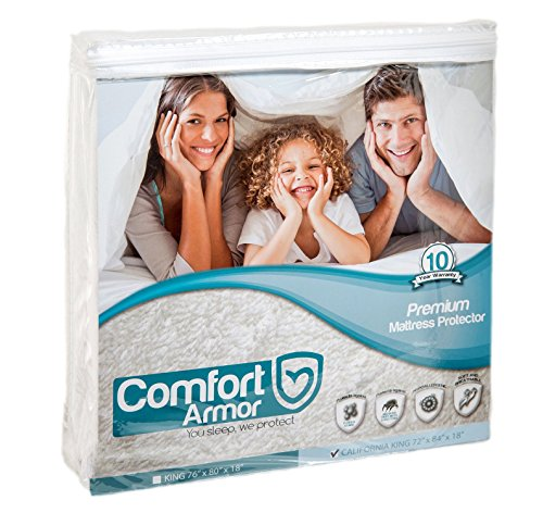 COMFORT ARMOR Mattress Protector - Cal King Size Waterproof & Hypoallergenic Mattress Protector - Protects from Spills, Bodily Fluids, Dust Mites - Vinyl Free Breathable Surface Mattress Cover (Ca King Bed Skirt compare prices)