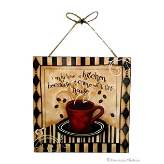 Coffee Cup Bistro Kitchen With The House 3D Wall Decor Art Sign