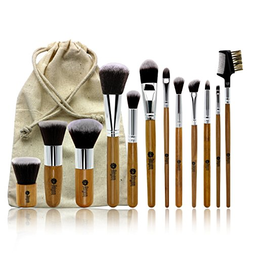 FEIYAN Makeup Brushes Set Professional Bamboo Handle Brush Premium Goat Hair Kabuki Foundation Cosmetics Brushes Kit With Bag (12 pcs, Yellow) (Goat Hair Make Up Brushes compare prices)