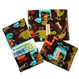 SnackTaxi Reusable Sandwich-sack Bag, Snack-sack Bag and Twice-as-nice Napkin Dino Dudes Set.
