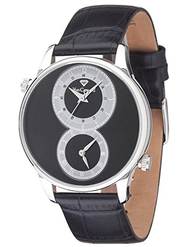 Yves Camani Loison Dual Time Silver/Black Men's Quartz Watch with Black Dial Analogue Display and Black Leather Strap YC1055-B
