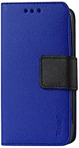 Reiko 3-In-1 Wallet Case with Interior Leather-Like Material and Polymer Cover for Kyocera Hydro Icon C6730 - Retail Packaging - Navy