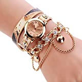 Sannysis Women Leopard Band Bracelet Quartz Braided Winding Wrap WristWatch Beige