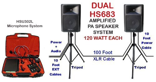 240 Watt Dual Portable Pa System Hs683 With Hsu302L Uhf Wireless Lapel Microphone System, Tripod And Cables