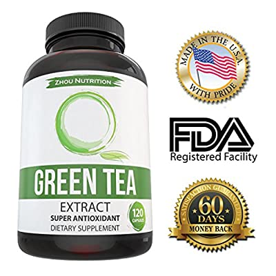 Green Tea Extract Supplement for Weight Loss - Boost Metabolism & Promote a Healthy Heart - Natural Caffeine Source for Gentle Energy - Super Antioxidant & Free Radical Scavenger - 500mg, 120 Capsules
