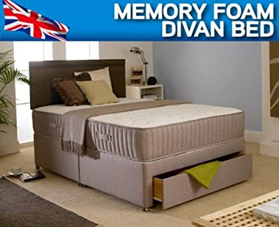 6ft Super Kingsize Divan Bed, 10 Inch Memory Foam Mattress & Headboard