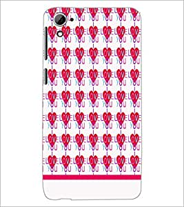 PrintDhaba I Love You Pattern D-1935 Back Case Cover for HTC DESIRE 826 (Multi-Coloured)