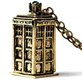 Doctor Who 3D TARDIS Police Box Pewter Tall Long Chain Necklace Bronze
