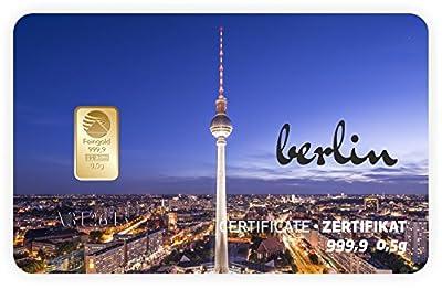 Goldbarren Geschenkkarte 0,5 g 0,5g Gramm Feingold 999.9 Nadir Gold Stadt Berlin