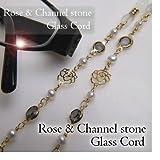 ローズ&シャネルストーン 淡水パール めがねチェーン 淡水真珠 バラ 薔薇 眼鏡チェーン グラスコード メガネチェーン 黒