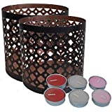 Ruhi Collections Pair Of Tea Light Votive Holders With Set Of 6 Candles - B01M1CFLER