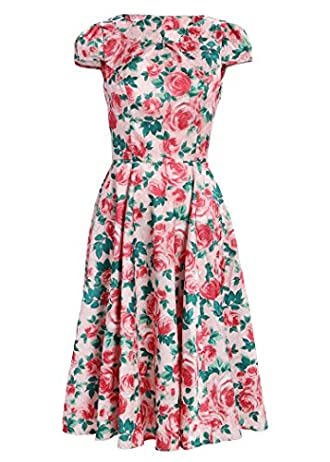 Light Pink Flower Garden Party 50s Pin Up Retro Vintage Dress