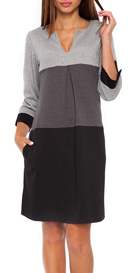 Glamour Empire. Womens Jersey Colour Block Shift Dress with Pockets S-2XL. 303 (Black & Grey, 14)